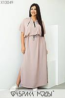 Летнее пудровое длинное платье женское с капюшоном (2 цвета) SD/-1017