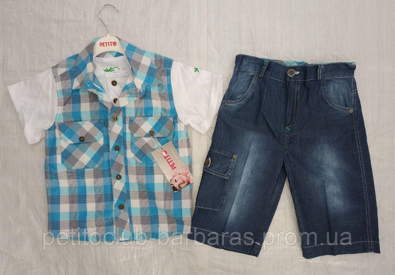 Детский летний комплект для мальчика футболка-рубашка в голубую клетку и бриджи (Petito Club, Турция)