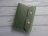 Кожаная обложка для блокнота коричневая, обложка на ежедневник из кожи_зеленый