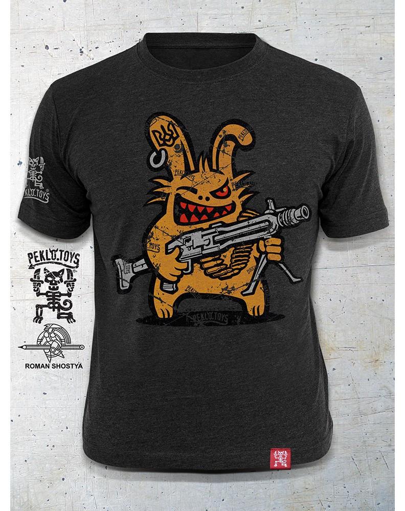 PEKLO.TOYS футболка Пекельний Зайчик з Машингвером Melange Graphite