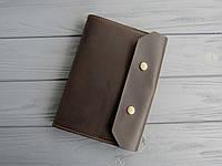 Кожаная обложка для блокнота коричневая, обложка на ежедневник из кожи_шоколад