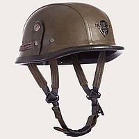 Шлем-каска немецкая кожа PU оливковый цвет, фото 1