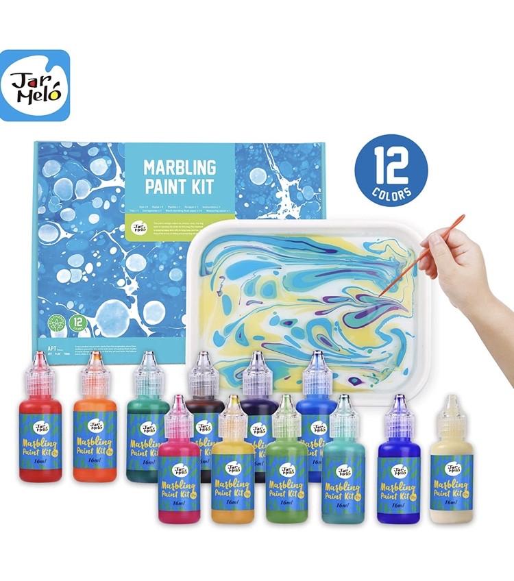 12 цветов. Набор для рисования на воде Jar Melo Marbling Kit.Набор для марморирования