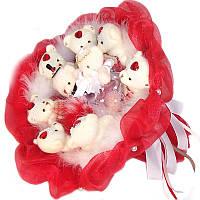 Букет из мягких игрушек Мишки 9 свадебный в красном, фото 1