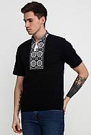 Вышитая футболка мужская Черная M-618-6