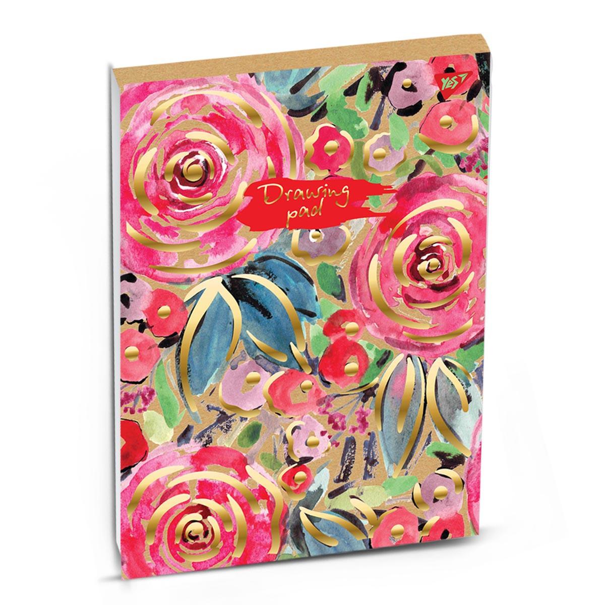 """Альбом для рисования А4 30л/100 склейка белила+фол.золото """"COLIER CAMPBELL"""" YES крафт код: 130462"""