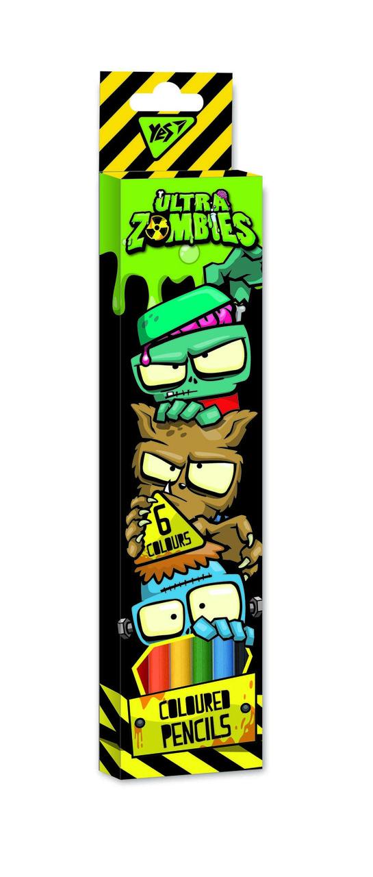 """Карандаши цветные YES 6 цв. """"Zombie"""" код: 290578"""