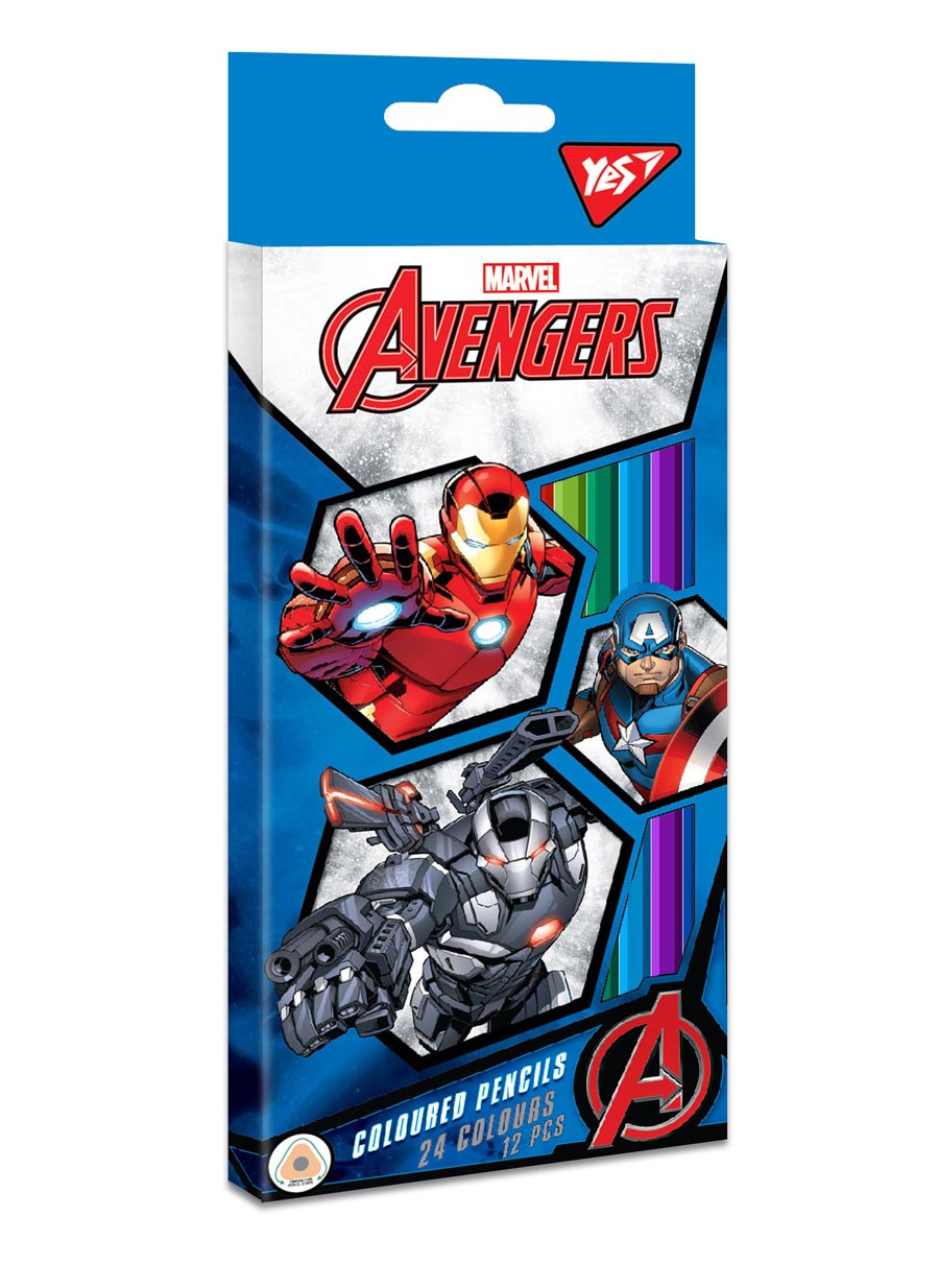 "Карандаши цветные YES 12/24 цв. ""Marvel"" код: 290603"