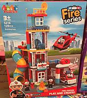 Конструктор для самых маленьких JDLT 5416 Пожарные, Пожарная станция, 128 крупных деталей, свет, звук