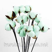 Хлопок сухоцвет (проволочная ветка с одним цветком) (диаметр бутона 4,5-5,5 см, упаковка 10 шт)