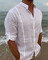 Чоловіча класична сорочка, 100% льон (модель Classiс, колір білий)