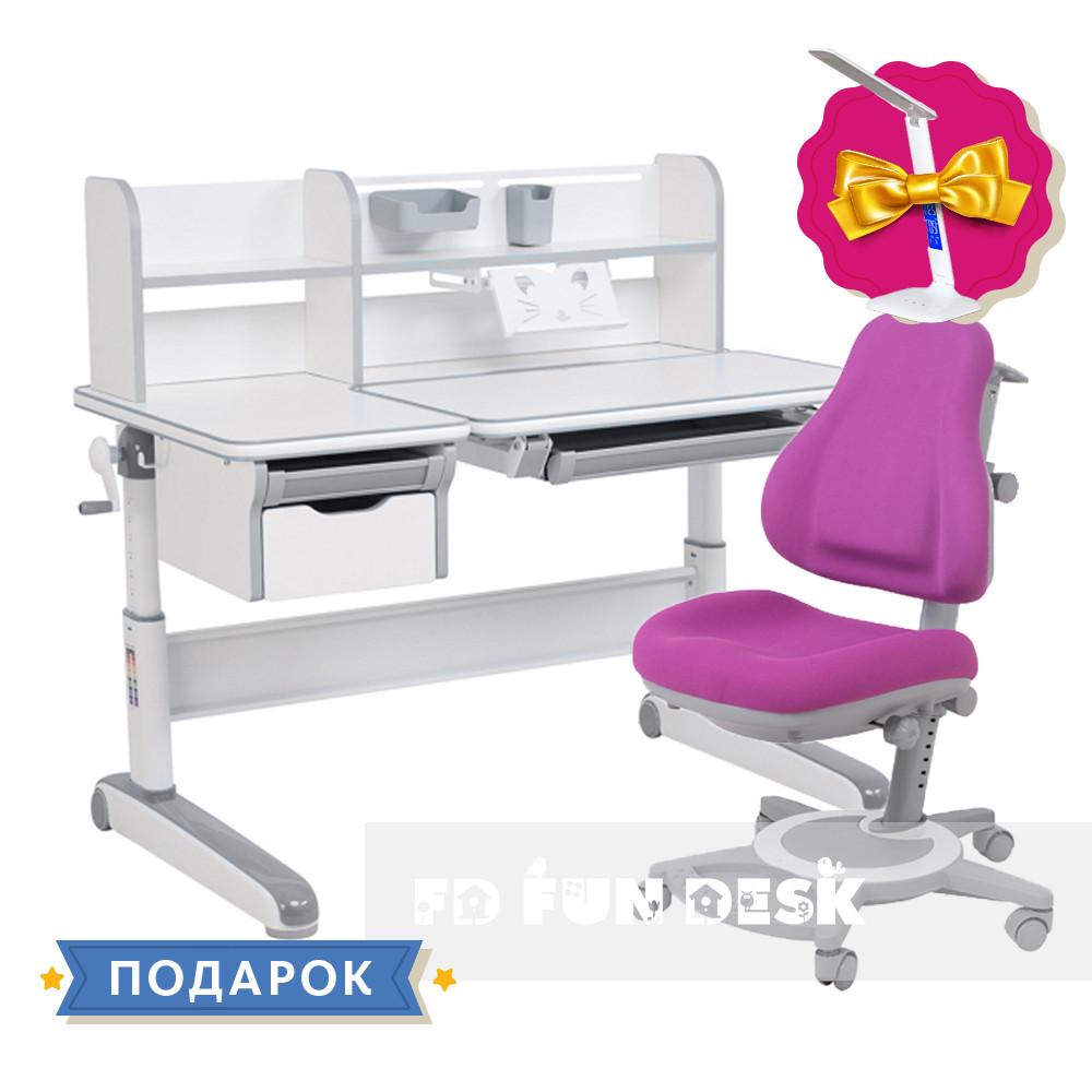 Детский комплект стол-трансформер FunDesk Libro Grey + универсальное кресло FunDesk Bravo Purple