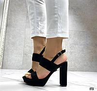 Женские босоножки черные на каблуке 12 см эко-замш, фото 1