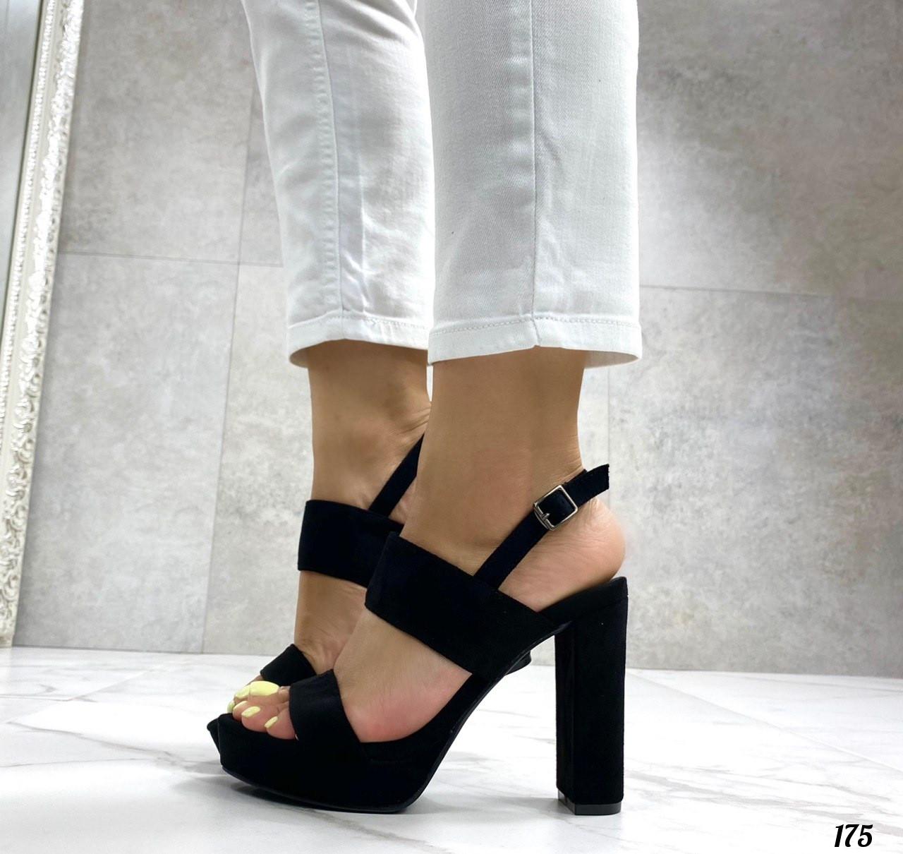 Женские босоножки черные на каблуке 12 см эко-замш