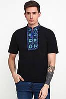 Вышитая футболка мужская Черная Украинская вышивка крестиком для мужчин