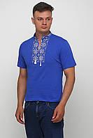 Вышитая футболка мужская синяя Красивая вышиванка гладь