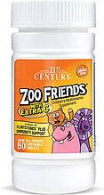 Детские витамины Zoo Friends с дополнительным витамином C, 21st Century, 60 жевательных таблеток