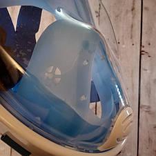 Маска полнолицевая для подводного плавания, ныряния, дайвинга, снорклинга L/XL Синяя (Оригинальные фото), фото 3