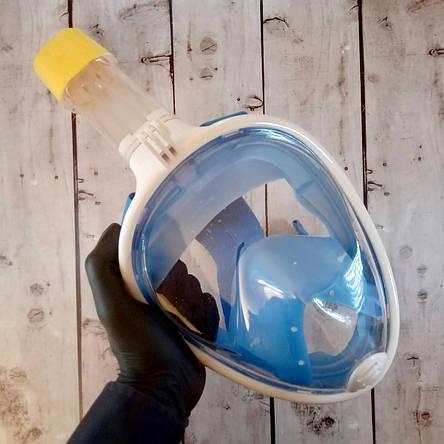 Маска полнолицевая для подводного плавания, ныряния, дайвинга, снорклинга L/XL Синяя (Оригинальные фото), фото 2