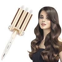Потрійна плойка для волосся Rozia HR-722 з керамічним покриттям