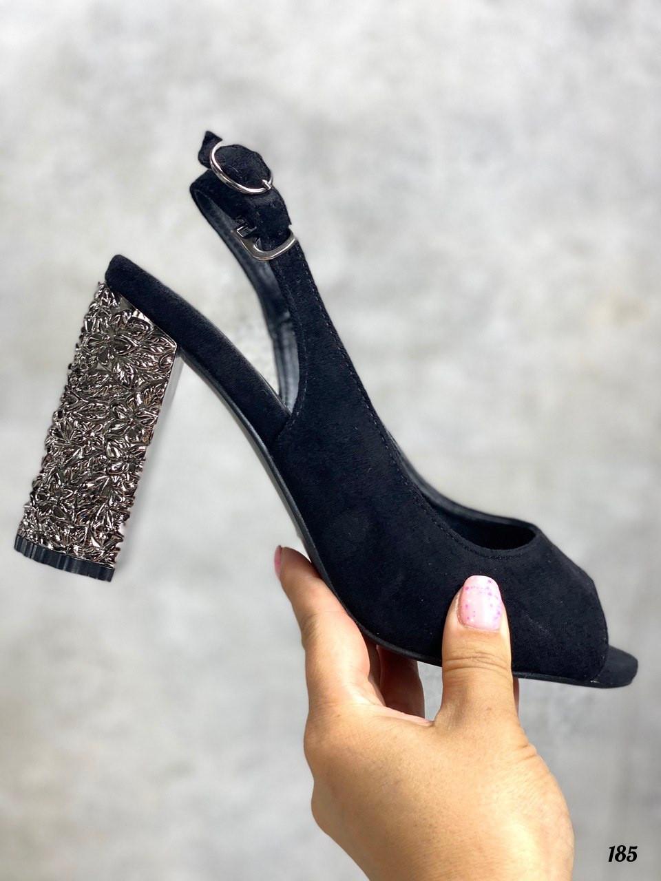 Босоножки женские черные на каблуке с декором 9 см эко- замш