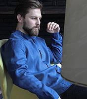 Чоловіча класична сорочка, 100% льонмодель Classiс, колір синій)