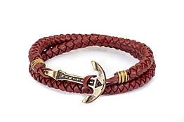 Кожаный браслет с Якорем ANTIQUE Wine Dream Гнилая вишня mt1107, КОД: 215601