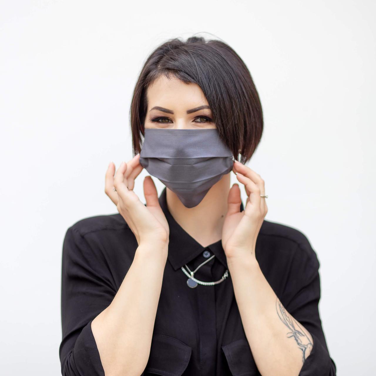 Маска защитная многослойная многоразовая серая мужская женская (Сертификация 2020)