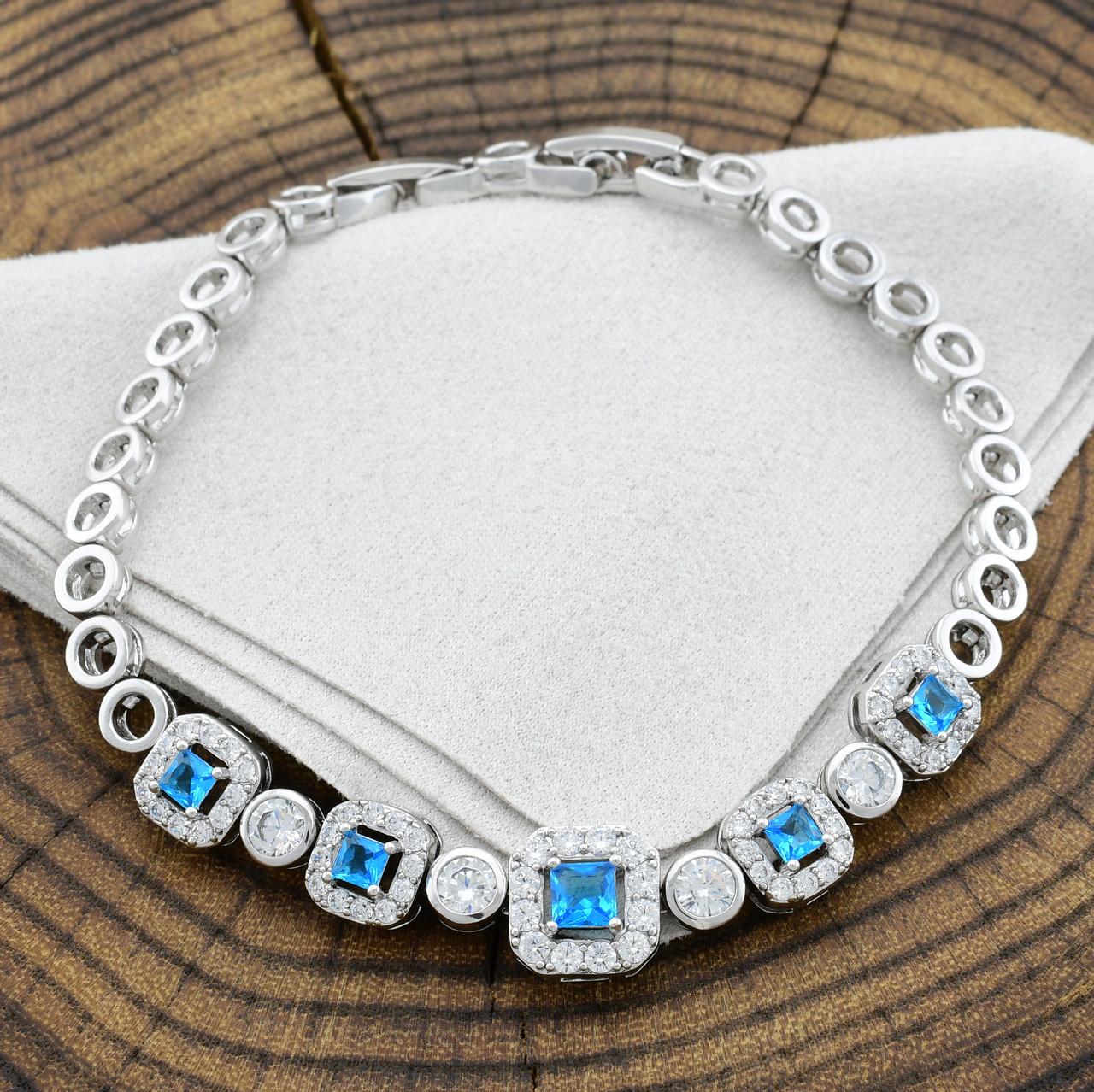 Браслет Xuping 41735 размер 17+2 см ширина 10 мм вес 11.2 г голубые фианиты позолота Белое золото