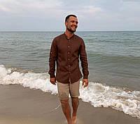 Чоловіча класична сорочка, 100% льон(модель Classiс, колір коричневий)