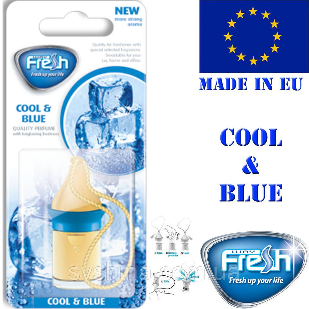 Ароматизатор корковий на дзеркало Fresh Wood Way Blister Cool and Blue (Синій Лід) 5ml
