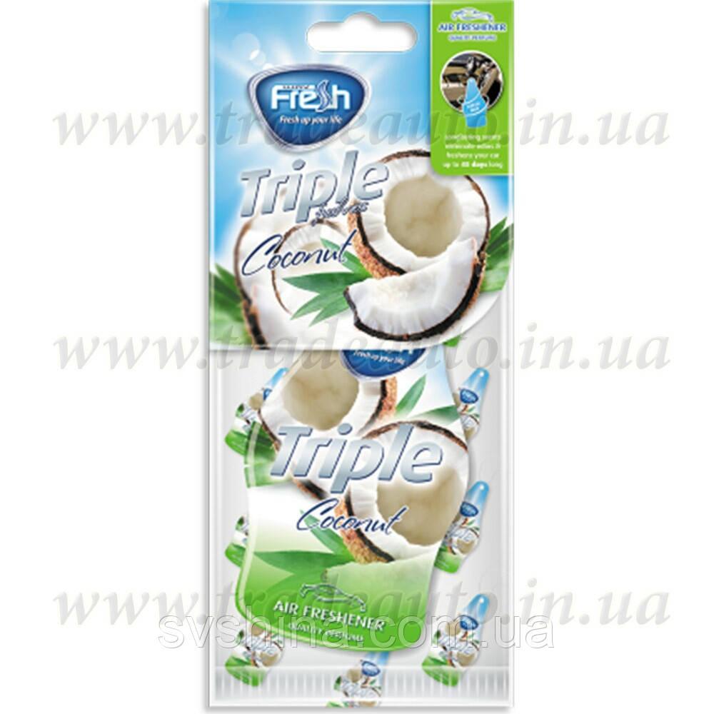 Ароматизатор сухий листочок великий (XXL) Fresh Way Triple Coconut (Кокос)