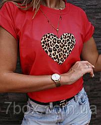 Футболка женская Леопардовое сердце S M L Турция оптом Красный