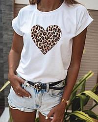 Футболка женская Леопардовое сердце S M L Турция оптом Белый