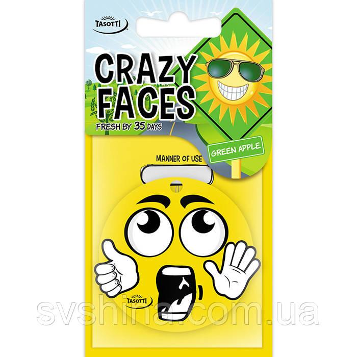 Ароматизатор сухий листочок Tasotti Crazy Faces Green Apple (Зелене Яблуко)