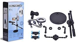 Селфи кольцо лампа на штативе с держателем на 2 телефона + микрофон LED подсветкой 8 см