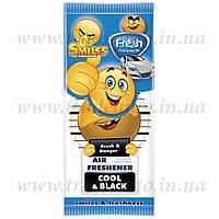 Ароматизатор сухой листик Fresh Way Smiles Dry Cool and Black (Черный Лед)