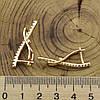 Серьги Xuping 26928 размер 32х7 мм вес 3.6 г белые фианиты позолота 18К, фото 2