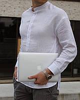 Чоловіча  сорочка, 100% льон (модель Casual, колір білий)