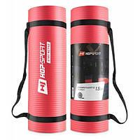 Мат для фитнеса и йоги 180 x 61 х 1 см Hop-Sport HS-N015GM красный коврик спортивный для дома и спортзала