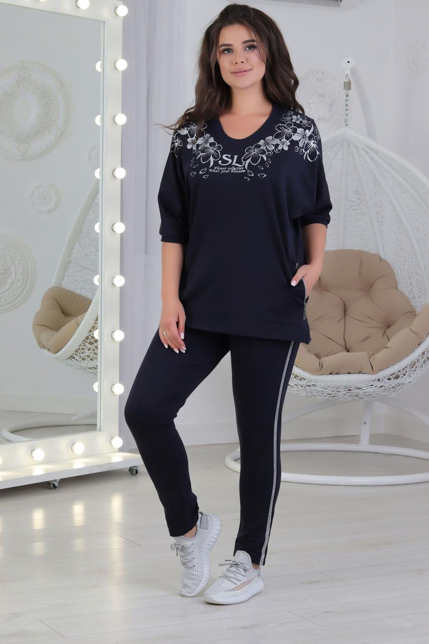 Повсякденний жіночий трикотажний костюмчик футболка + штани, спортивного стилю розміри 56-62