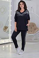 Повседневный женский трикотажный костюмчик футболка + брюки, спортивного стиля размеры 56-62