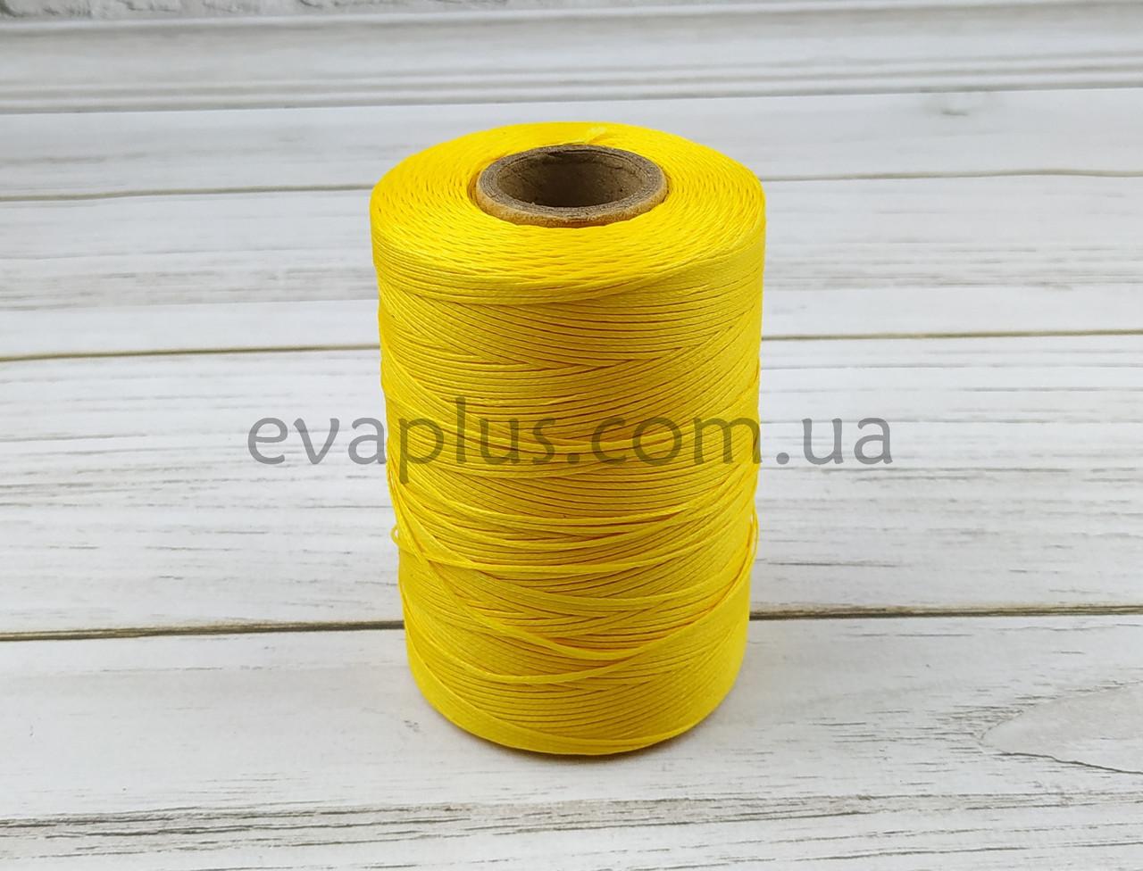 Нитка вощеная плоская 500м толщина 1мм желтая №12