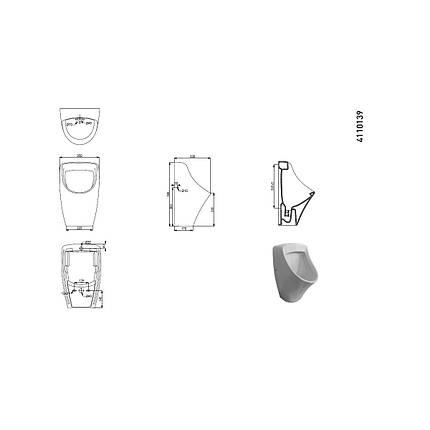 Уринал підвісний, підвід води зі стіни + муфта NEW 4110139 SWIFT, фото 2