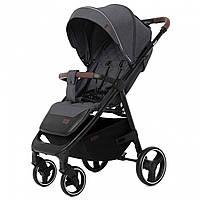 Детская прогулочная коляска темно-серая с дождевиком черная рама CARRELLO Bravo CRL-8512 Serious Grey