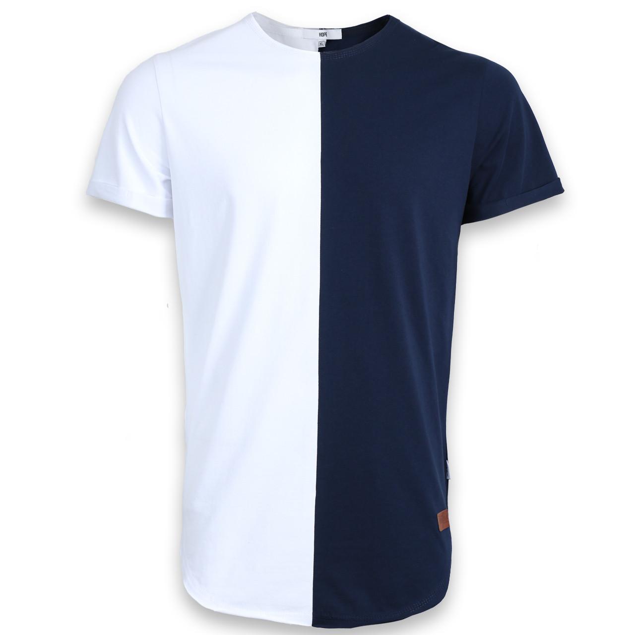 Футболка мужская т синяя-белая HOPE Ф-12 DBLU/WHT L(Р) 18-652-020