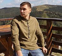 Чоловіча сорочка, 100% льон (модель Casual, колір хакі), фото 1