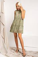Летящее платье без рукавов из шифоновой ткани в мелкий цветочный принт свободного покроя