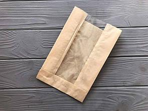Бумажный пакет с прозрачной вставкой 230х140х50  18Ф 1000 шт