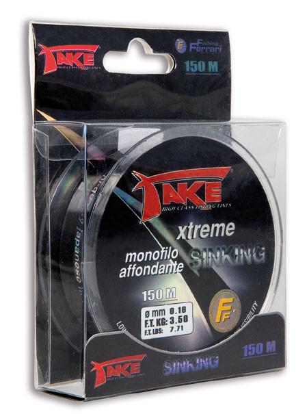 Леска Lineaeffe Take Xtreme Sinking тонущая 150м. 0.25мм.  FishTest-9кг  (черная)  Made in Japan